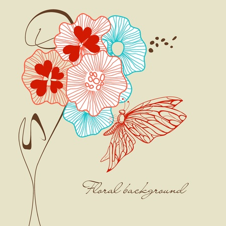 Bouquet of flowers and butterfly Vector