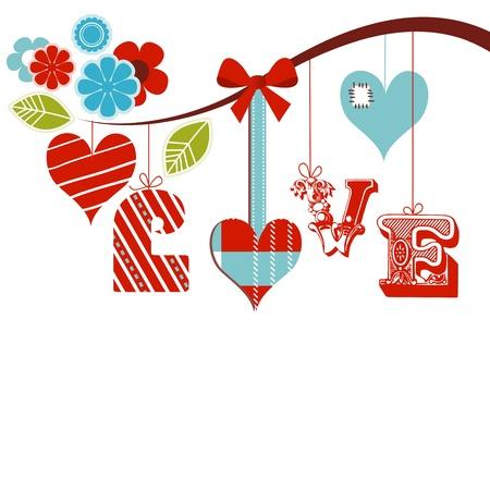 liefde: Decoratieve liefde woord over wit vector illustratie Stock Illustratie