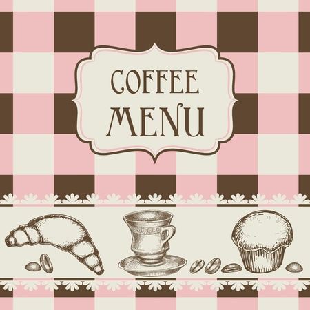 etching pattern: Coffee and cakes menu Illustration