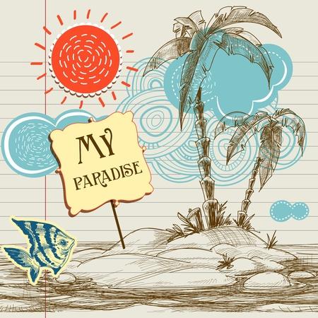 zomer: Tropisch paradijs achtergrond, zee vakantie-flyer Stock Illustratie