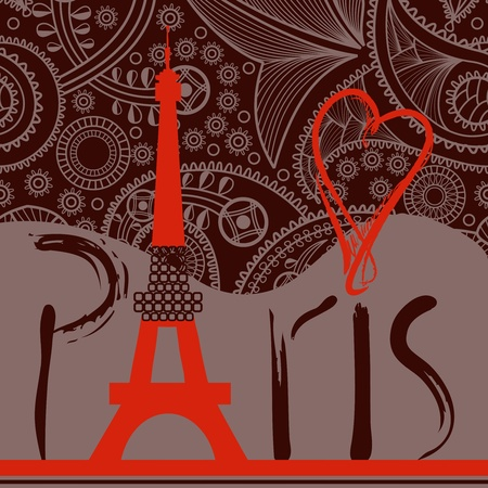 Love in Paris background, decorative Paris word with Eiffel tower Vector