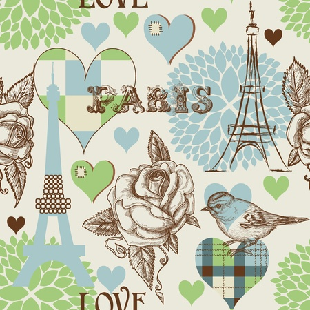 Paris seamless pattern Vector