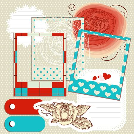 Scrapbook elements, paper scribbles and photo frames Vector