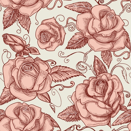 flores: Vintage roses seamless pattern Illustration