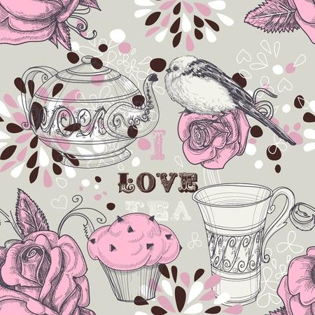 teacup: Tea love seamless pattern