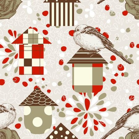 Birds and birdcages seamless pattern Vector