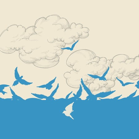 migration: Blue birds flying over sky vector illustration Illustration