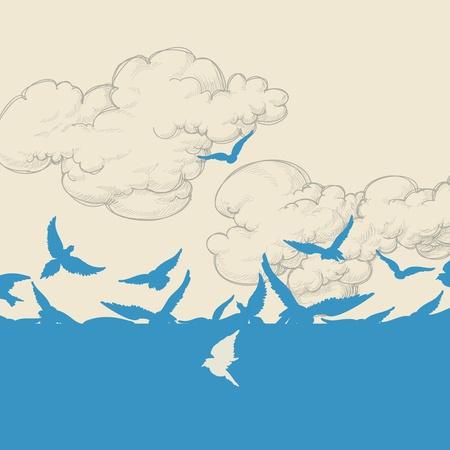 pajaros volando: Los p�jaros azules vuelan sobre el cielo ilustraci�n vectorial