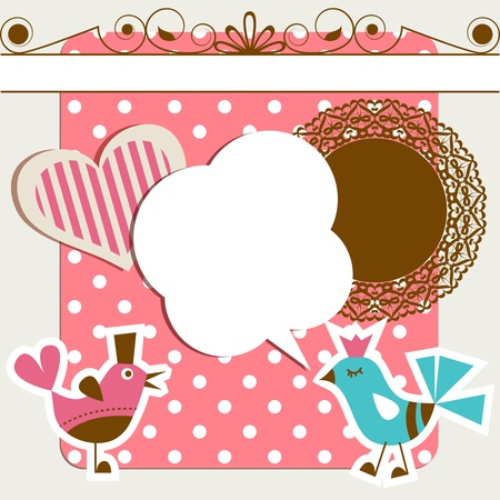 tweeting: Scrapbook elements with birds and speech bubble Illustration