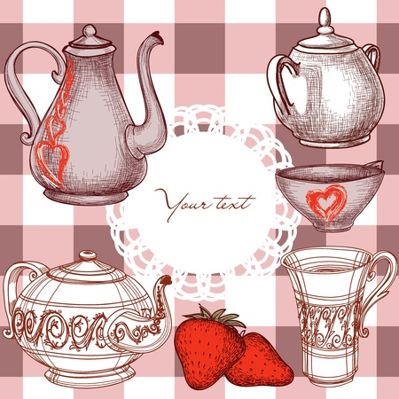 teapot: Kitchen background with frame for text