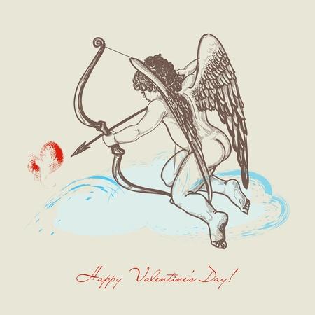 eros: Disegnati a mano Cupido con arco Vettoriali
