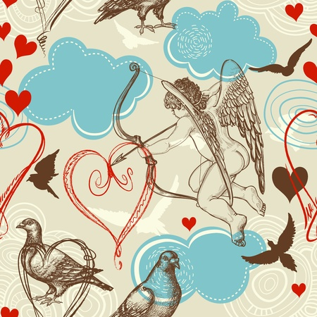 clip art draw: Love seamless pattern, Cupid and love birds