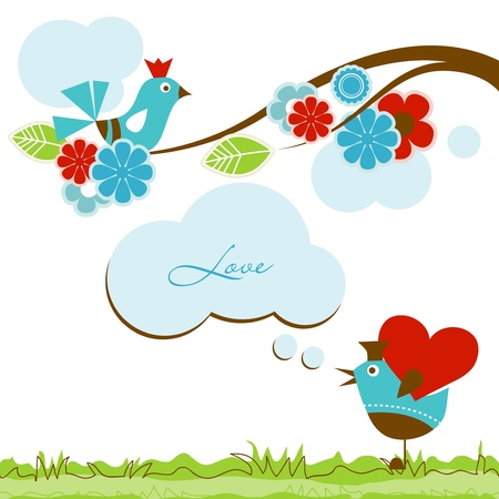 whimsical: Love scene with cute birds