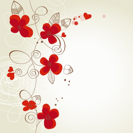 wed beauty: Red flowers vector ornament