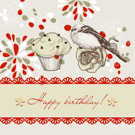 Bird and chocolate chips cupcake background for kids Vector