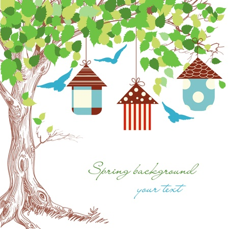 free clip art: Spring tree, birdcages and blue birds background Illustration