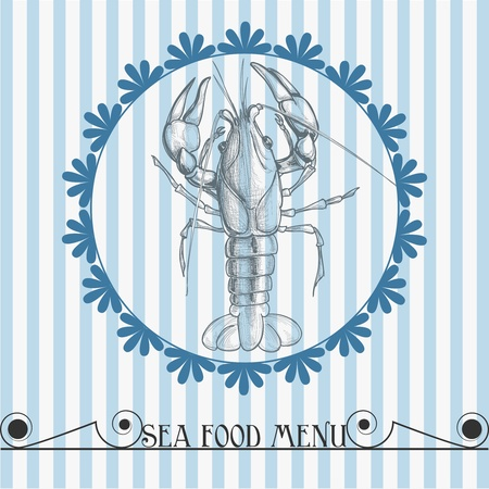 Sea food vector menu lobster drawing Vector