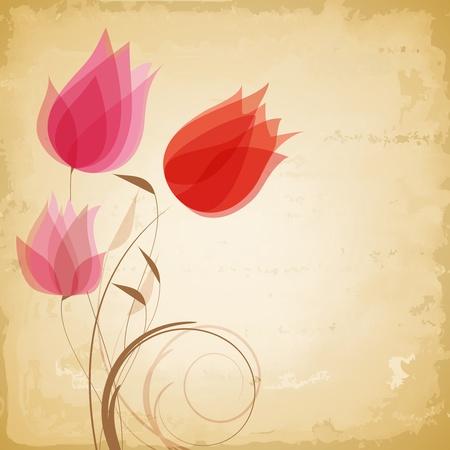 tulipan: Vintage kwiaty wektor
