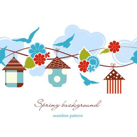 springtime background: Spring background seamless pattern