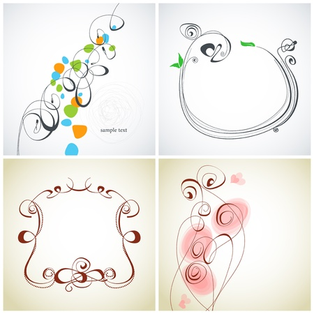 Set of calligraphic decoration Vector