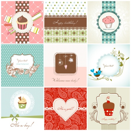 Greeting cards and cupcakes set Stock Vector - 12145857