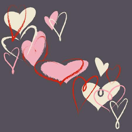 romance love: Hearts vector background Illustration