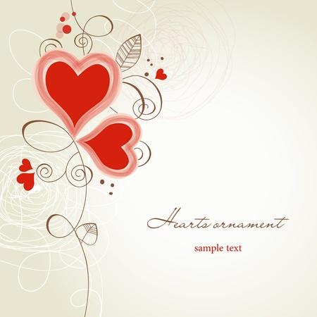 invitaci�n matrimonio: Dos corazones ornamento Vectores