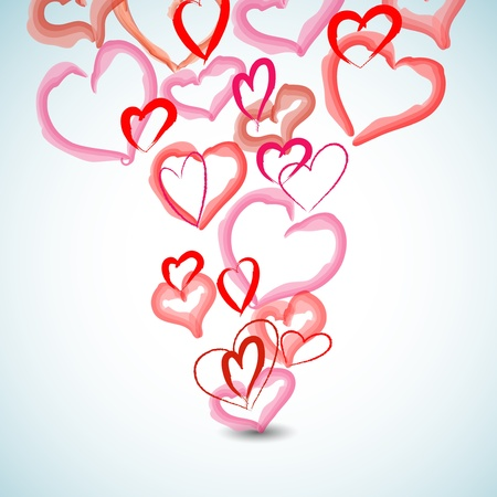 whimsy: Watercolor hearts background Illustration
