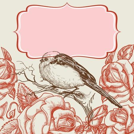 Aves y la plantilla de rosas invitación con marco para el texto