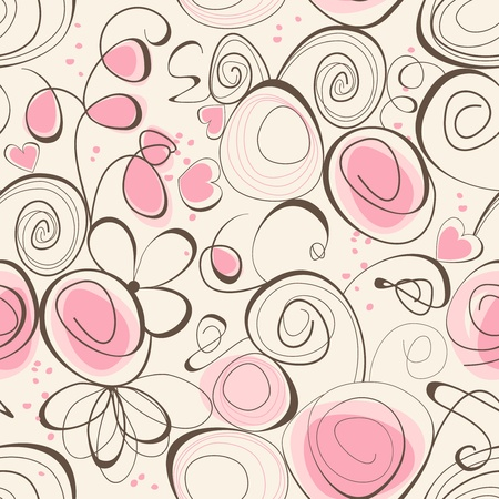 pink swirl: Calligraphic romantic seamless pattern