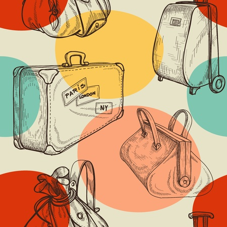 travel luggage: Travel bags seamless pattern