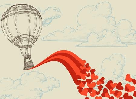 voyage: Globo de aire caliente vuelan corazones concepto rom�ntico