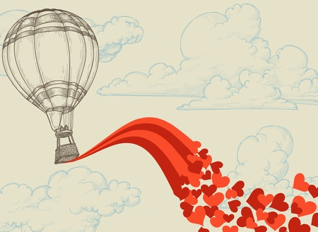Hot air balloon flying hearts romantic concept Vector