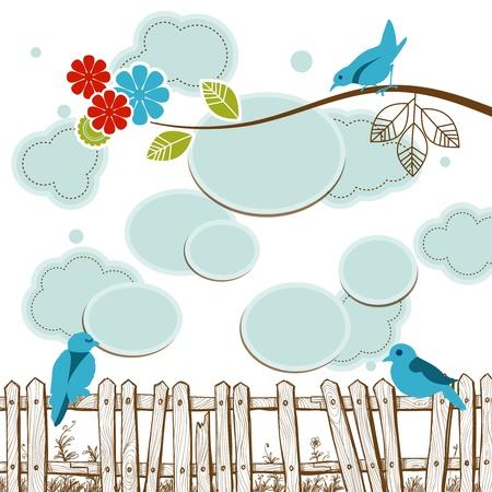 social media concept: Birds tweeting social media concept with clouds speech bubbles