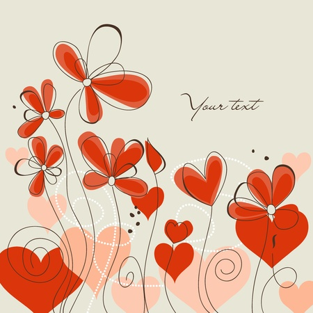 Cute floral background, love message Vector