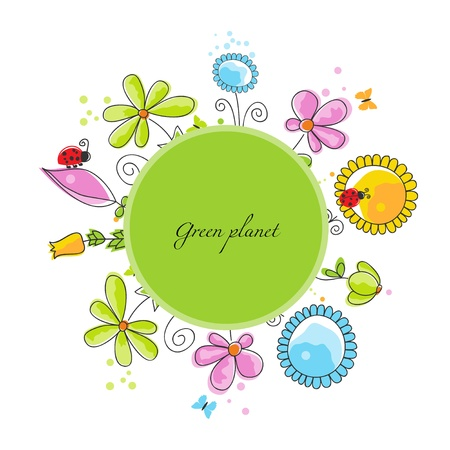 Floral frame, green planet concept Vector