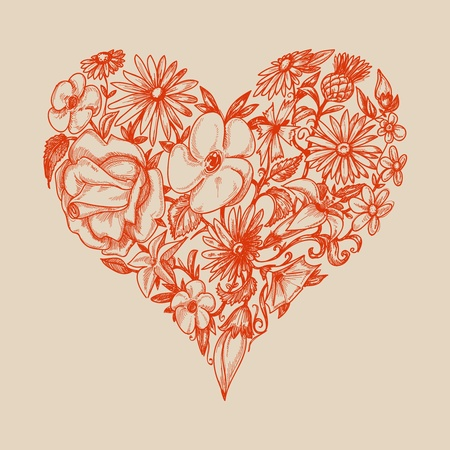 clip art draw: Floral heart shape