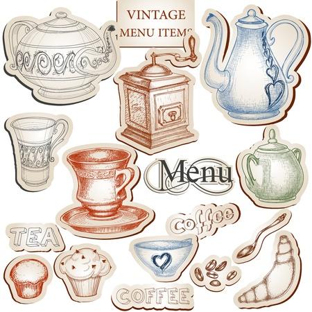 kitchen tools: Vintage keukengerei en voedsel icons set Stock Illustratie