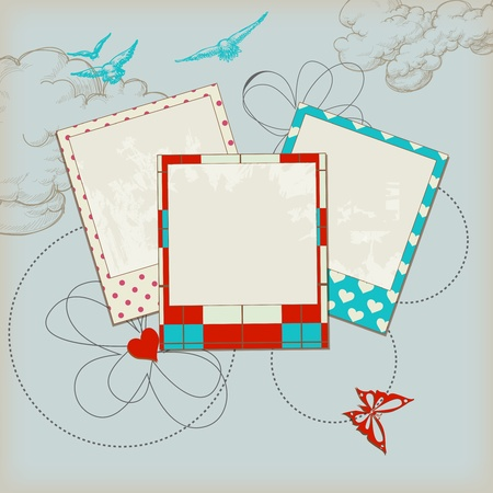 scrap booking: Retro scrap template, photo frames and sky background Illustration