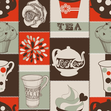 kettle: Tea and cupcakes seamless pattern Illustration