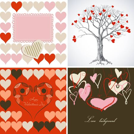 Love greeting card set Vector