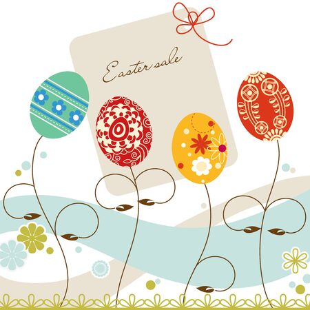 Easter sale tag, decorative eggs background Vector