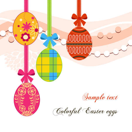 Hanging Easter eggs and ribbons background Vector