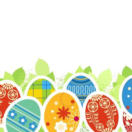 Ornate Easter eggs and green leaves border Vector