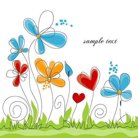 flor caricatura: Primavera colorido floral de fondo