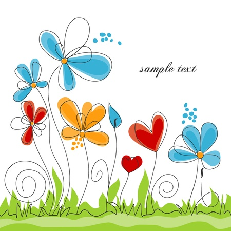 flower card: Spring floral colorful background