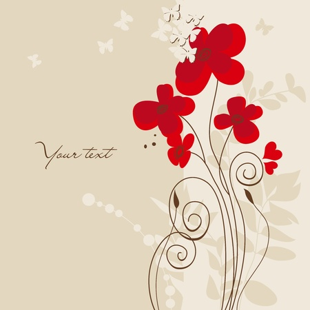 Floral greeting card with butterflies Vector