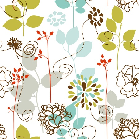 leafy: Spring plants seamless pattern