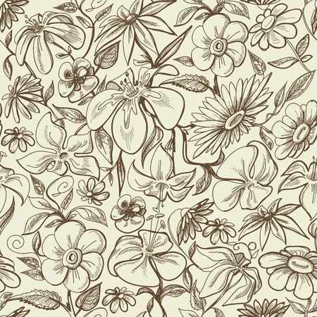 hand drawn flower: Graphic floral seamless pattern, vintage style texture
