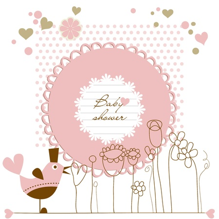 invitacion baby shower: Baby shower ni�a Vectores
